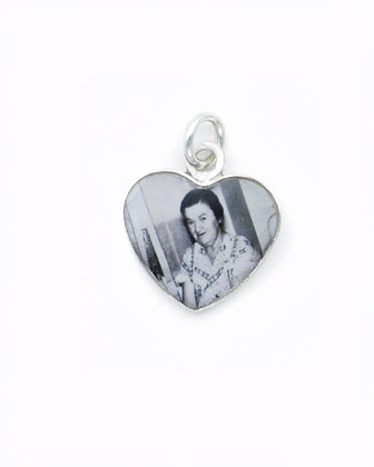 Photo Charm /Personalized Sterling Silver Heart with Resin /14mm Sterling Silver