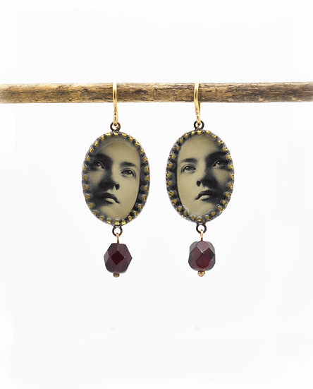 Faces Photo Earrings ( in stock)