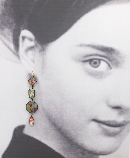 Nature Collage Dangle Earrings in Oxidized Brass