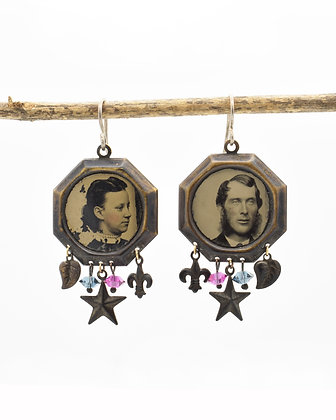 Tintype Photo Earrings with Charms ( IN STOCK)