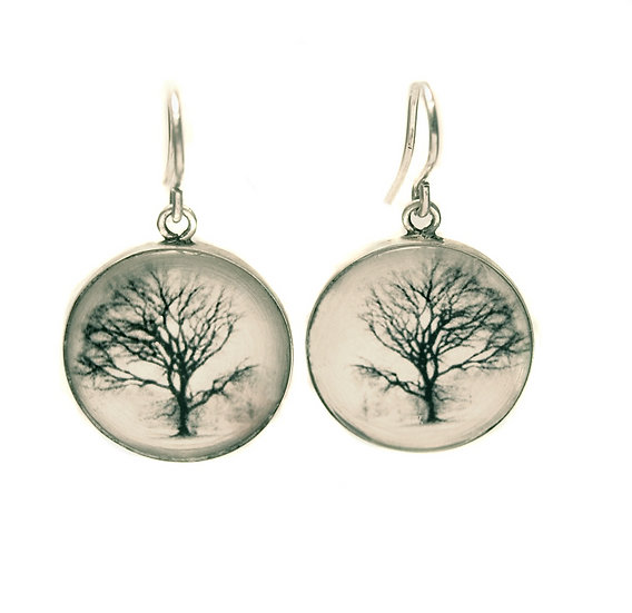 Tree Photo Droplet Earrings (made to order)