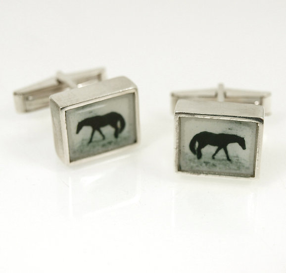 Horse Photo Cufflinks/Silver  (in stock)