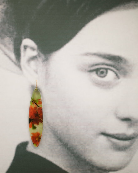 Extra Long  Resin Leaf Earrings with  Red Flowers