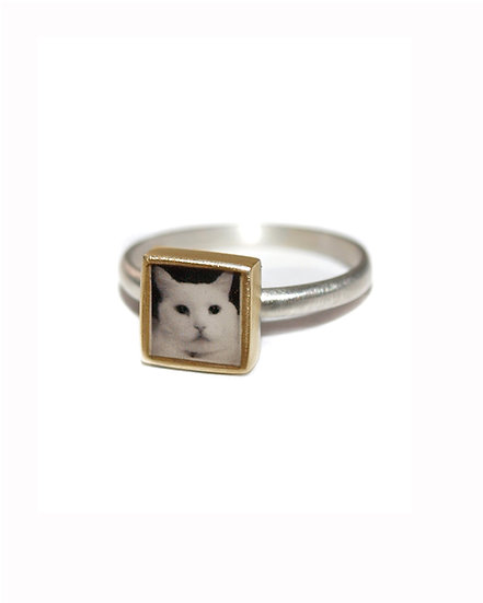 Photo Ring/Personalized Tiny Bronze &  Square Ring with Photo and Resin