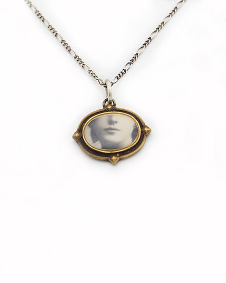 Face Photo Pendant ( in stock)  Brass & Silver
