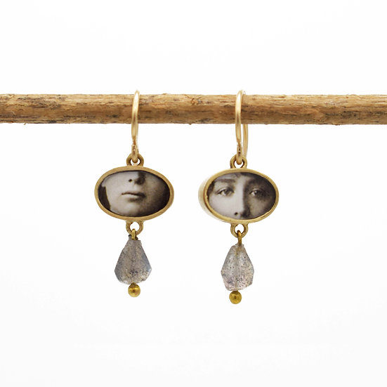Little Eyes  & Mouth Photo Earrings /bronze with labradorite (in stock)