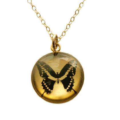 Butterfly Droplet Photo Pendant