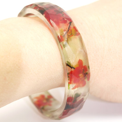 RED FLOWERS Resin Bangle( IN STOCK)Medium