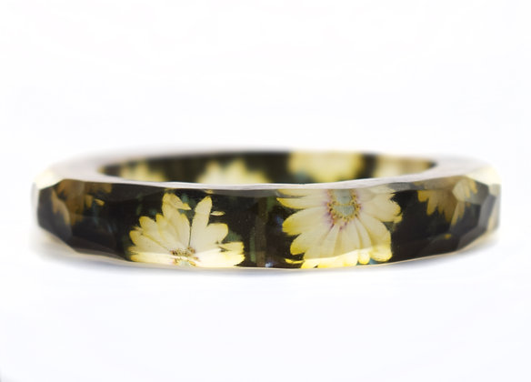 LARGE Black & White Flowers Resin Bangle  ( IN STOCK)