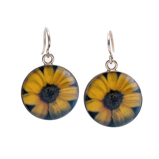 Sunflower  Droplet Photo Earrings