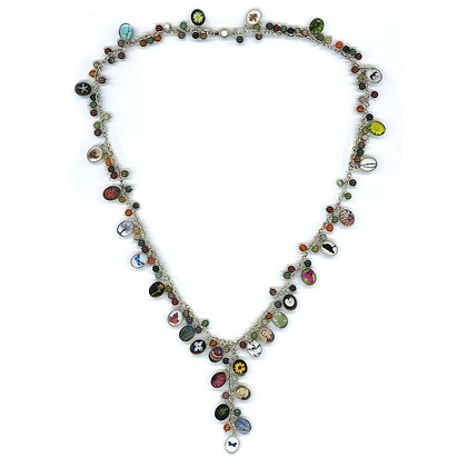 Oval Charm and Indian Agate Necklace