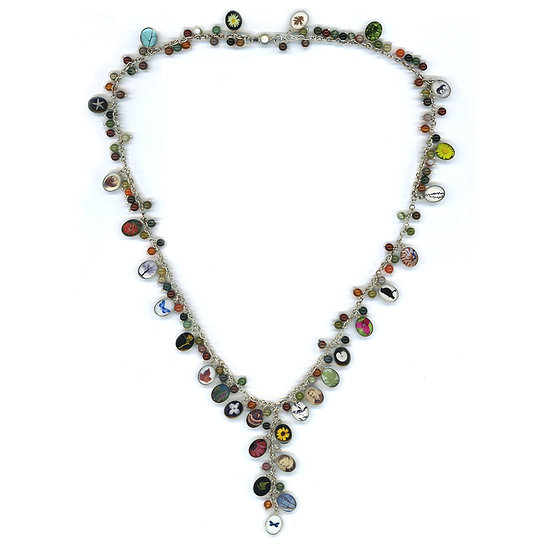 Oval Charm and Indian Agate Necklace (ORDER)