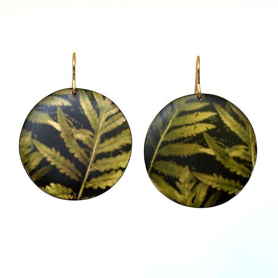 E312 Green Ferns & Bronze Disc Earrings