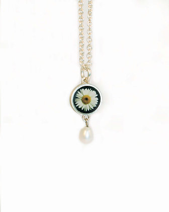 DAISY Photo Pendant/sterling silver with pearl ( IN STOCK)