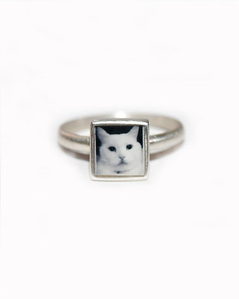 Personalized Tiny Square Photo Ring