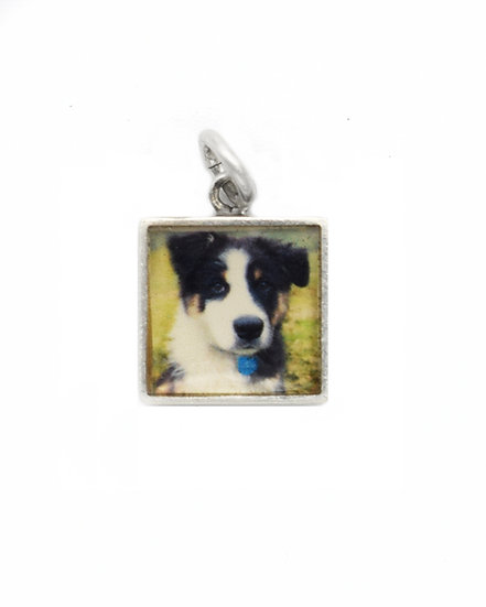 Photo Charm/10mm /Sterling Silver Square with Resin