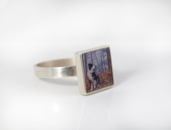 PERSONALIZED Square Silver Photo Ring/10mm