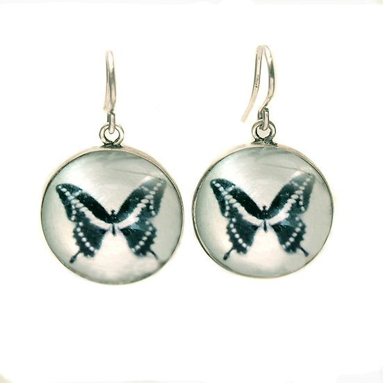 Butterfly  Droplet Earrings (made to order)sterling silver or brass