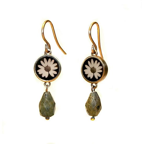 B&W DAISY Photo Earrings (ORDER)