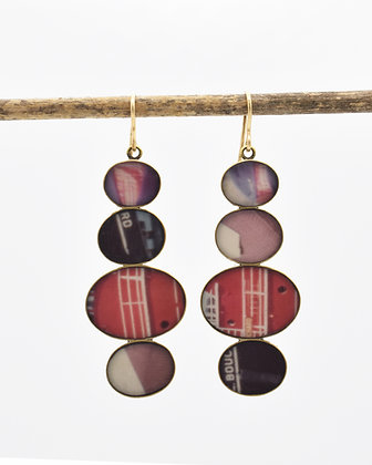 Vintage Color Photo Collage Earrings  (IN STOCK)