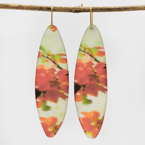 Long Photo Resin Leaf Earrings