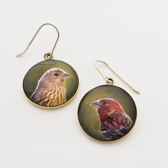 Finch Portrait Earrings/Brass  (in stock)