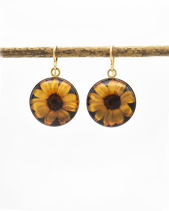 Sunflower Photo Earrings ( IN STOCK)