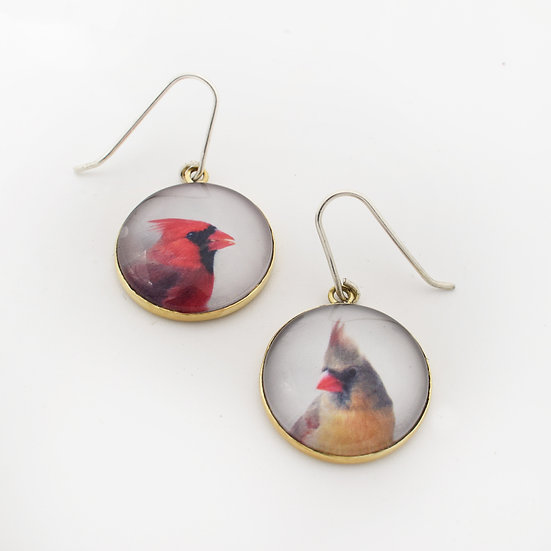 Cardinal Portrait Earring  (made to order)