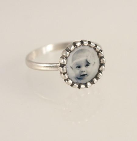 Tiny Silver Beaded Edge Ring