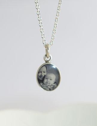 Silver Photo Charm/Tiny Oval/8x10mm