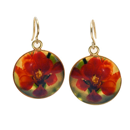 RED FLOWERS Droplet Earrings (IN STOCK)
