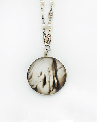 Hand Photo Necklace(IN STOCK) Sterling silver & Pearls