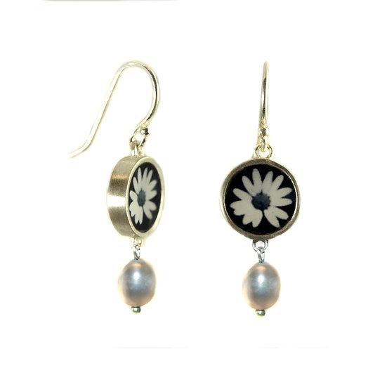 Daisy in Black & White Photo Earrings