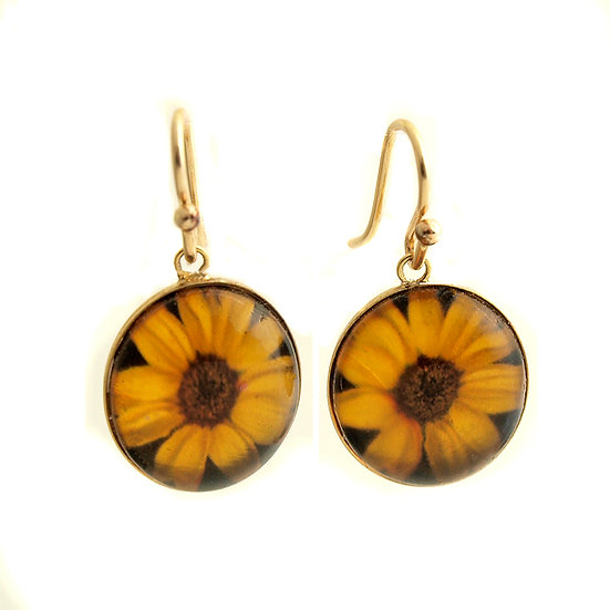 Sunflower Droplet Earrings (made to order)