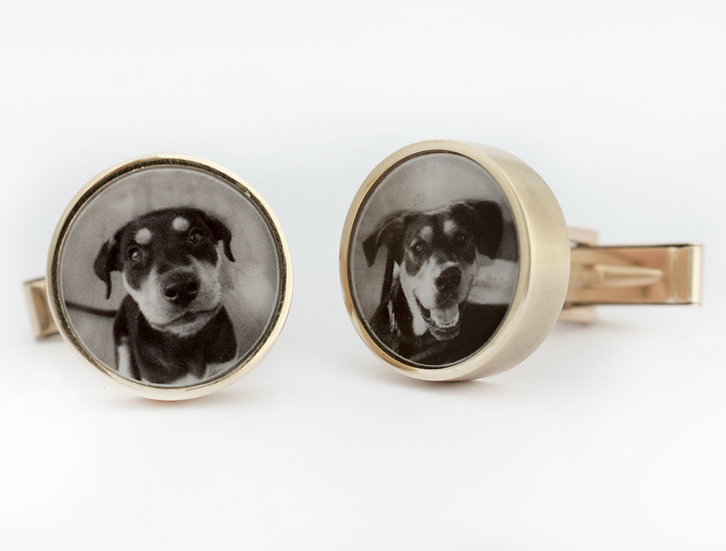 Photo Cufflinks/Personalized/Circle/Bronze/Silver