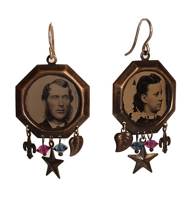 TINTYPE PORTRAITS Earrings with Charms ( IN STOCK)