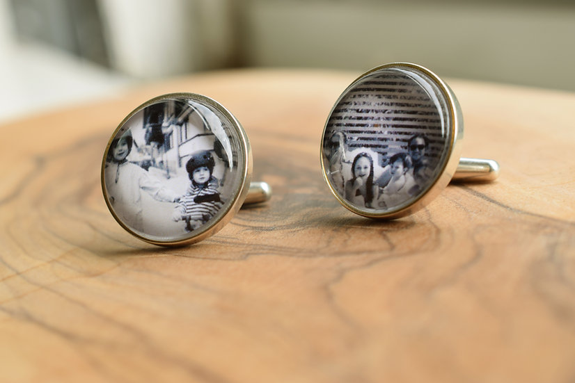 Photo Cufflinks/Personalized/ Sterling Silver/ 15mm Circle with Glass