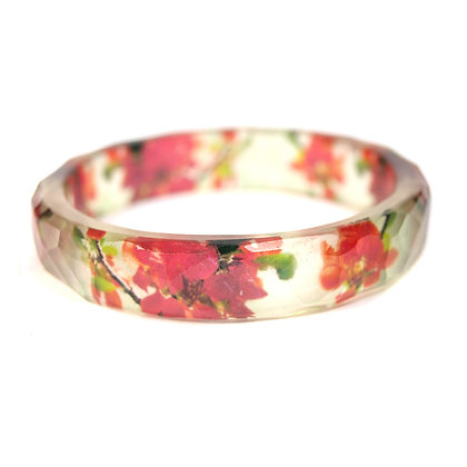 Red Flowers Resin Bangle
