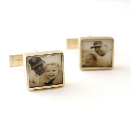 Square Cufflinks in Bronze with Sepia Photos