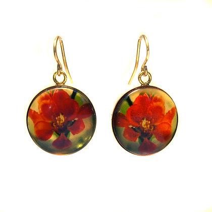 E87 Red Flowers Droplet Earrings