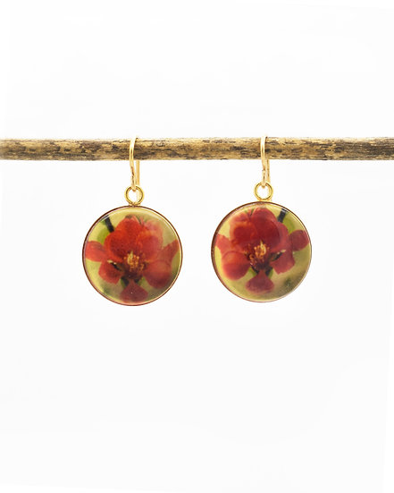 Flowering Quince  Photo Earrings (in stock)