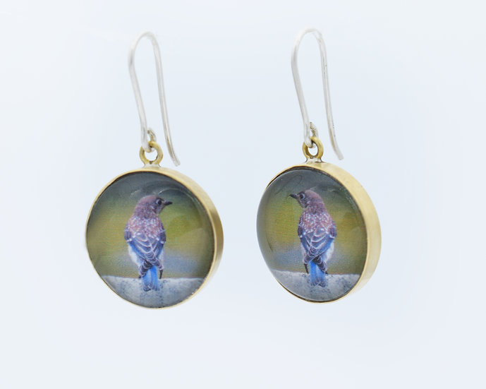 Blue Bird Photo Earrings  (made to order)