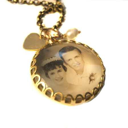 Brass Photo Pendant with Charm and Pearl