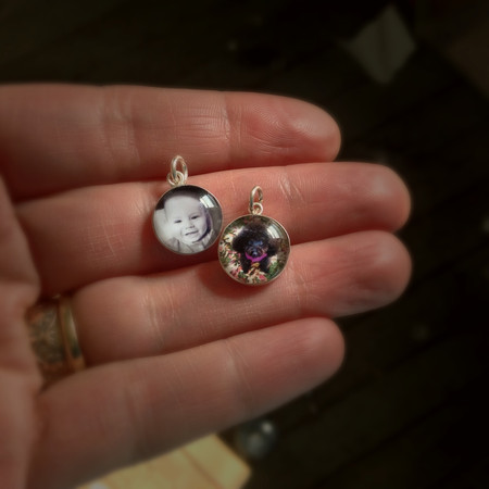 12 mm Photo Charms with Glass