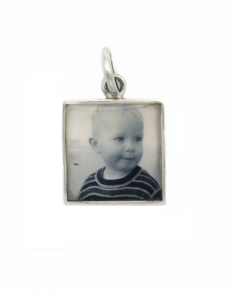 Photo Charm/12mm/Sterling Silver Square with Resin