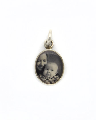 Photo Charm/8x10mm Sterling Silver Oval with Resin