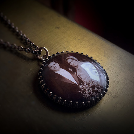 Antiqued Brass Pendant on Chain