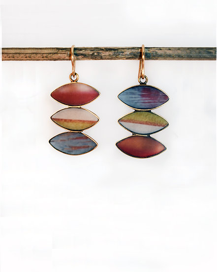Stacked Navette Vintage Color Photo Earrings