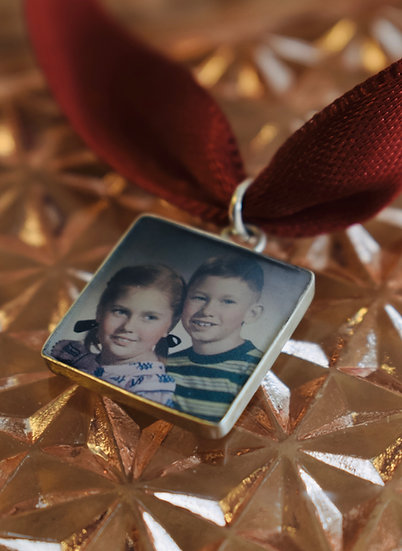 Photo Charm/16mm Sterling Silver Square with Resin