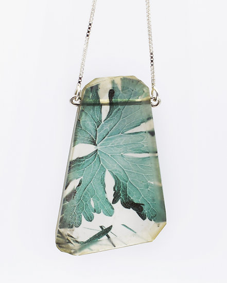 Geranium Leaf Photo Pendant(IN STOCK) Resin & Sterling Silver